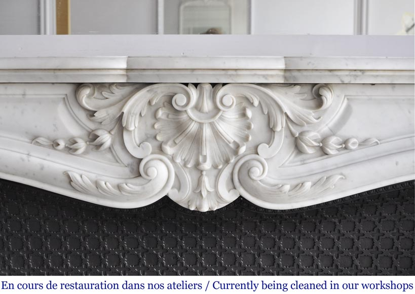 Louis XV style fireplace in Carrara marble with a large shell-1