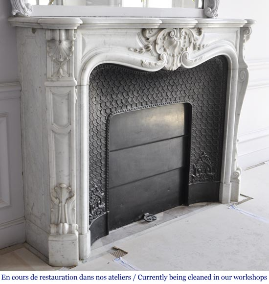 Louis XV style fireplace in Carrara marble with a large shell-4
