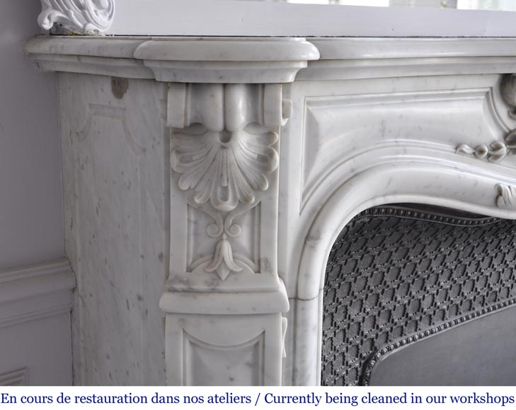 Louis XV style fireplace in Carrara marble with a large shell-5