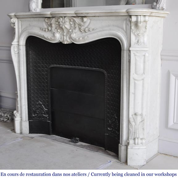 Louis XV style fireplace in Carrara marble with a large shell-7