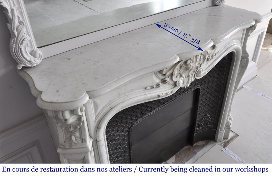 Louis XV style fireplace in Carrara marble with a large shell-10