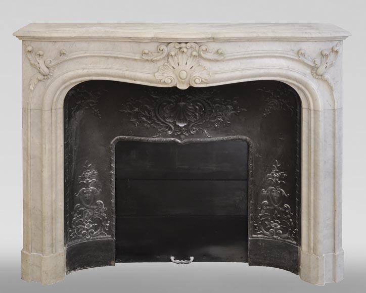 Antique 19th century Louis XV style fireplace in Carrara marble-0