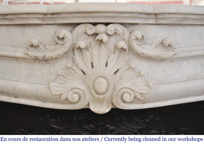 Antique 19th century Louis XV style fireplace in Carrara marble-1