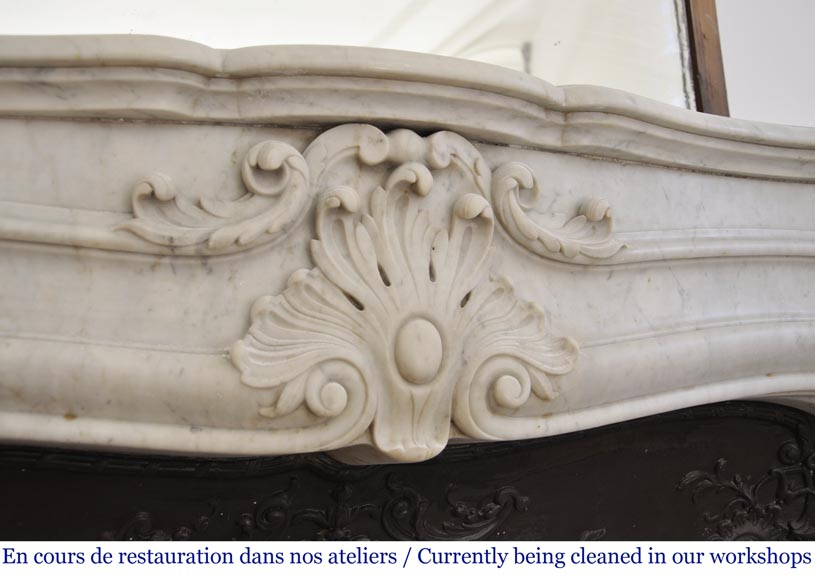 Antique 19th century Louis XV style fireplace in Carrara marble-2