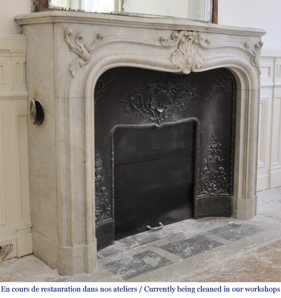 Antique 19th century Louis XV style fireplace in Carrara marble-3