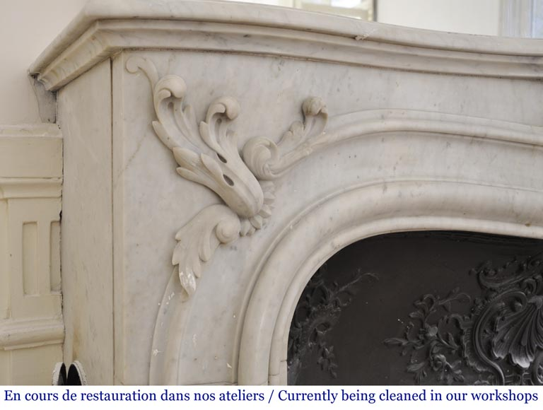 Antique 19th century Louis XV style fireplace in Carrara marble-4