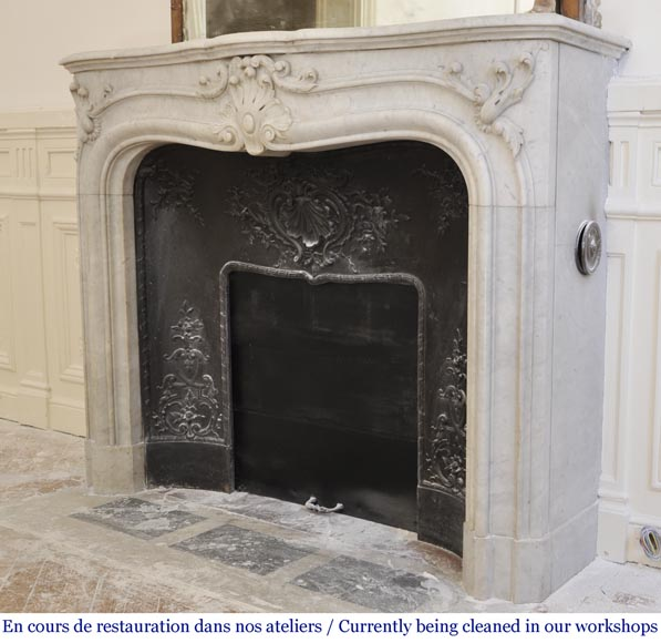 Antique 19th century Louis XV style fireplace in Carrara marble-6