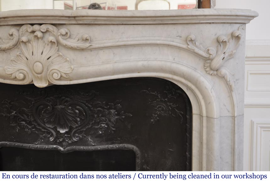 Antique 19th century Louis XV style fireplace in Carrara marble-7