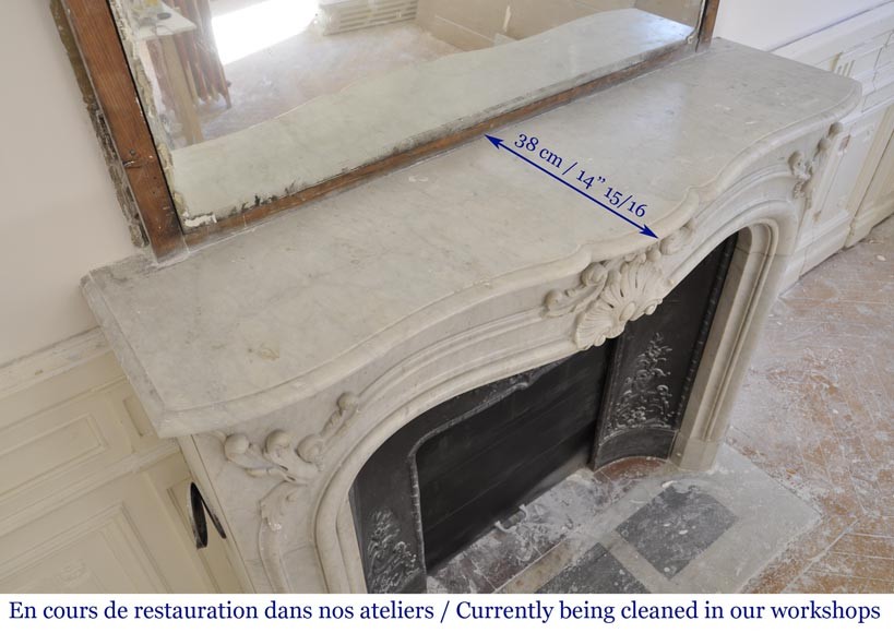 Antique 19th century Louis XV style fireplace in Carrara marble-10