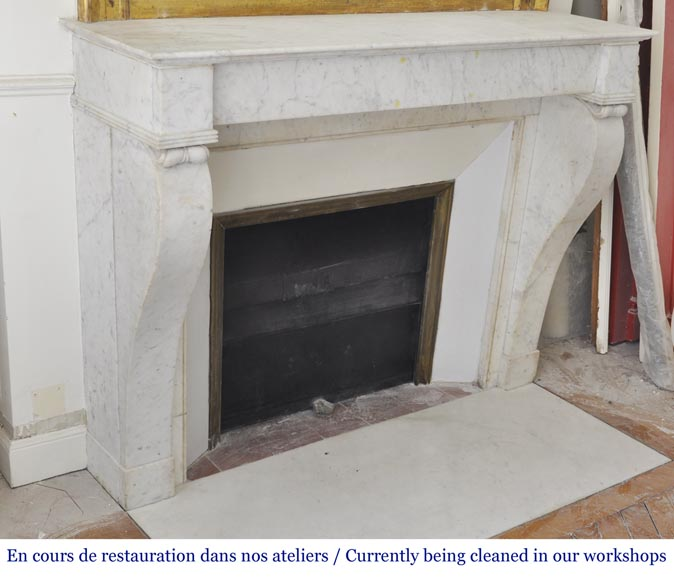 Antique Restoration style fireplace in Carrara marble-1