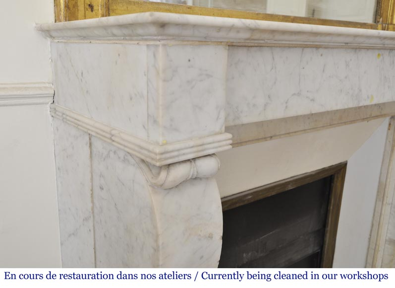 Antique Restoration style fireplace in Carrara marble-2