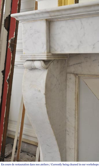 Antique Restoration style fireplace in Carrara marble-3