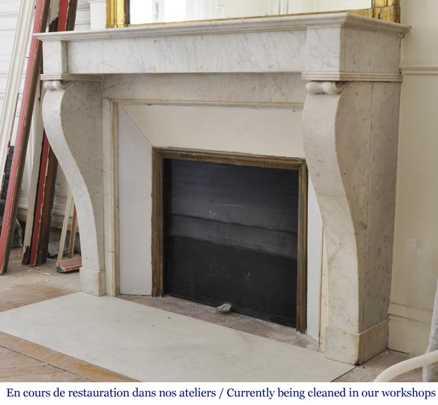Antique Restoration style fireplace in Carrara marble-5