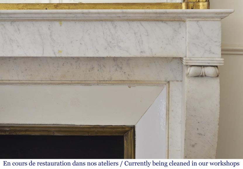 Antique Restoration style fireplace in Carrara marble-6