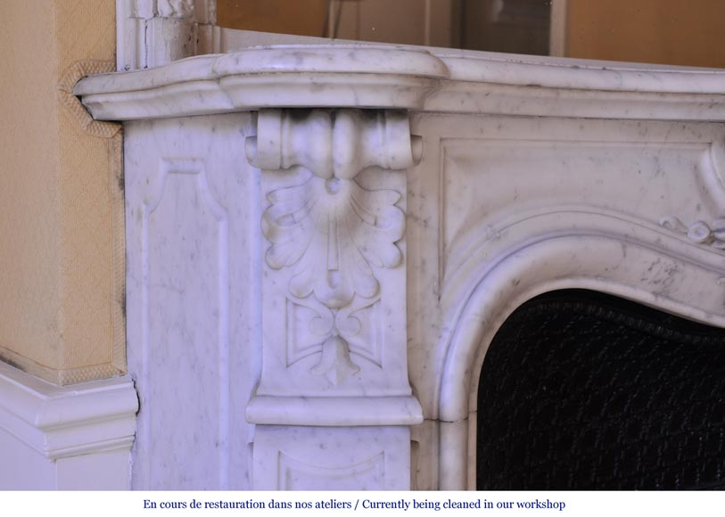 Antique Louis XV style mantel in Carrara marble with a foliage shell-4