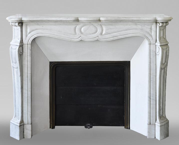 An antique Louis XV style fireplace, Pompadour model made out of Carrara marble-0