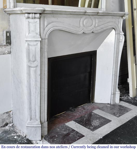 An antique Louis XV style fireplace, Pompadour model made out of Carrara marble-2