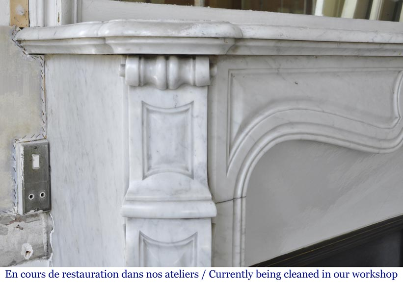 An antique Louis XV style fireplace, Pompadour model made out of Carrara marble-3