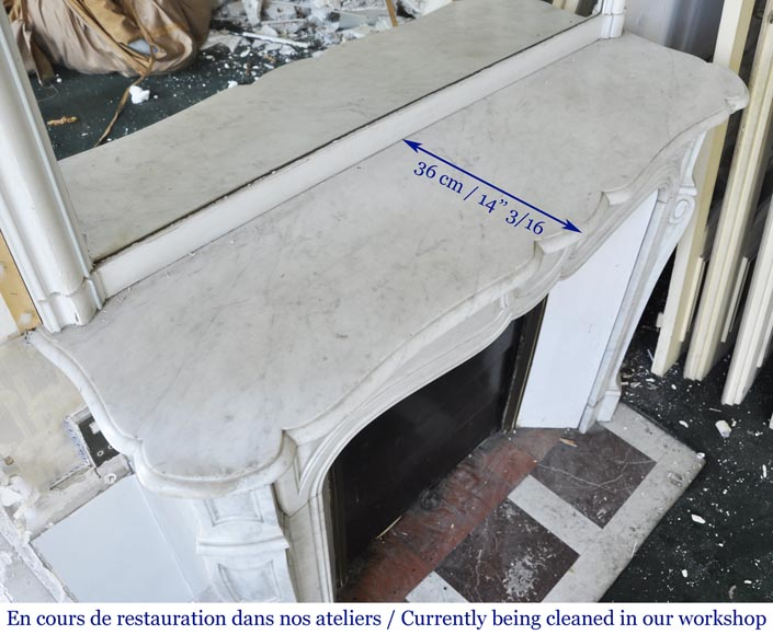 An antique Louis XV style fireplace, Pompadour model made out of Carrara marble-7