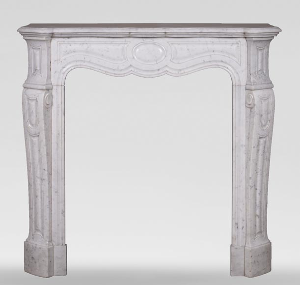 Antique Louis XV style mantel, Pompadour in Carrara marble-0