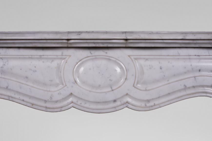 Antique Louis XV style mantel, Pompadour in Carrara marble-1