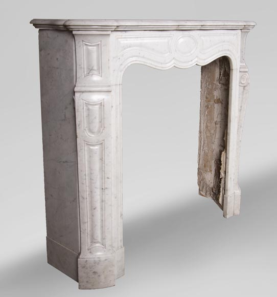Antique Louis XV style mantel, Pompadour in Carrara marble-2