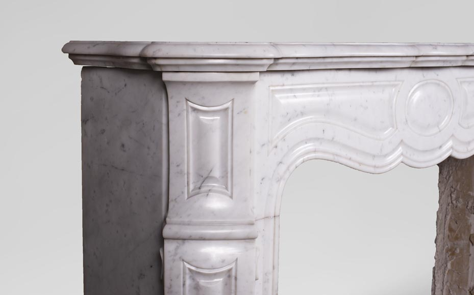 Antique Louis XV style mantel, Pompadour in Carrara marble-3