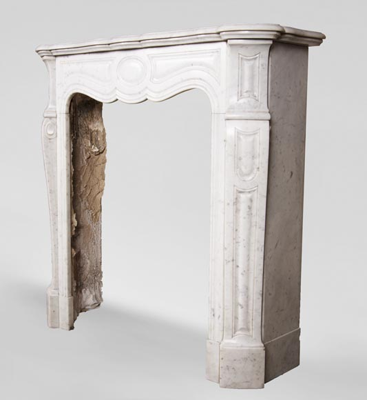 Antique Louis XV style mantel, Pompadour in Carrara marble-5