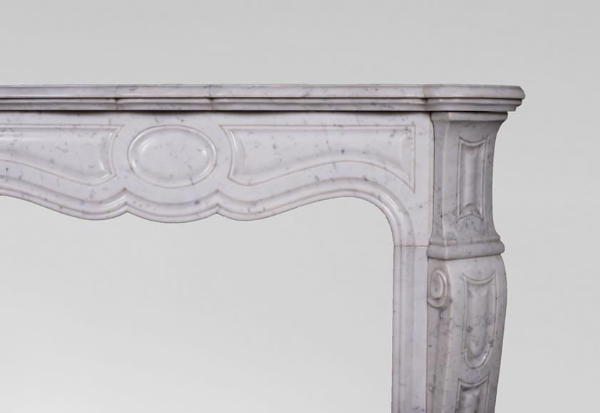 Antique Louis XV style mantel, Pompadour in Carrara marble-6