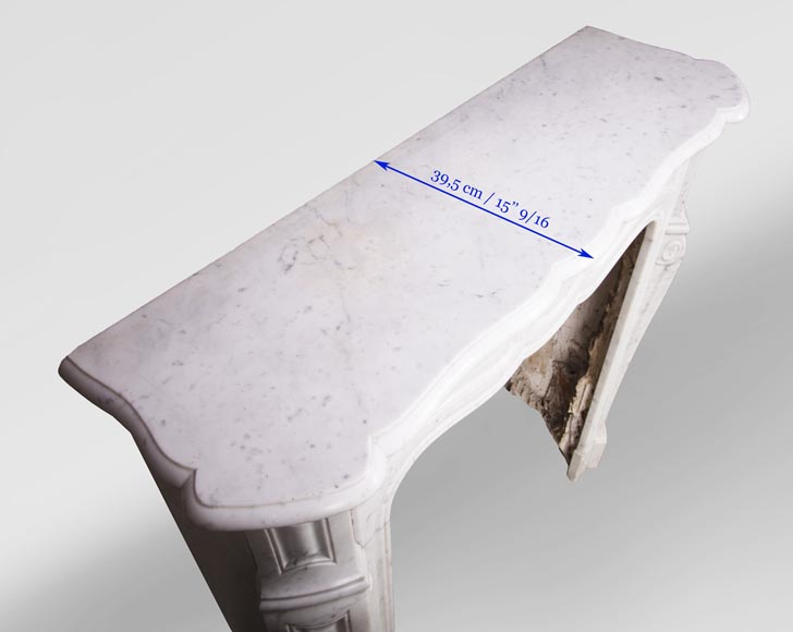 Antique Louis XV style mantel, Pompadour in Carrara marble-8