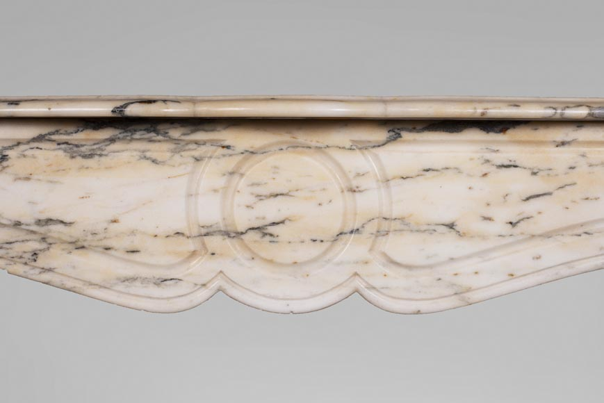 Antique Louis XV style Pompadour fireplace in Paonazzo marble-1