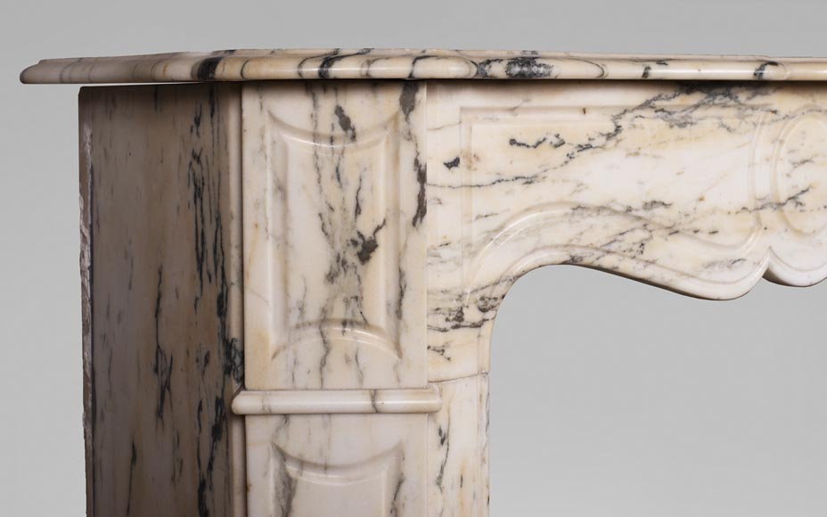 Antique Louis XV style Pompadour fireplace in Paonazzo marble-3