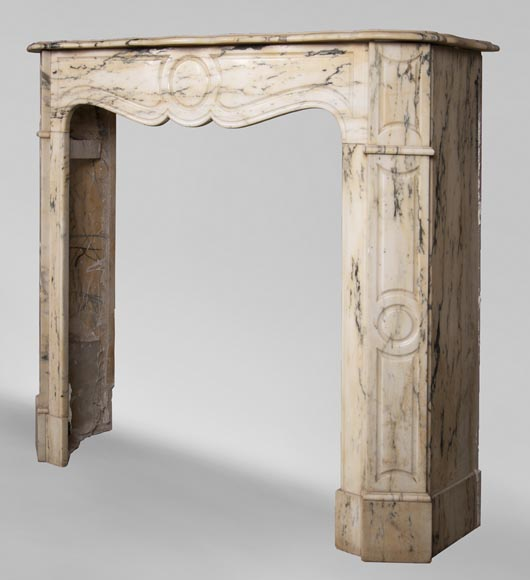Antique Louis XV style Pompadour fireplace in Paonazzo marble-5