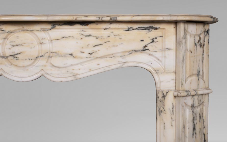 Antique Louis XV style Pompadour fireplace in Paonazzo marble-6
