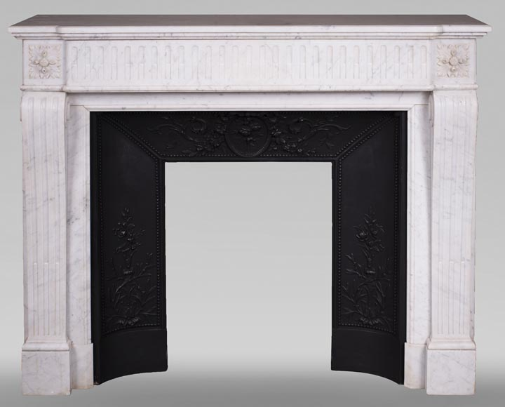 Antique Louis XVI style fireplace in Carrara marble-0