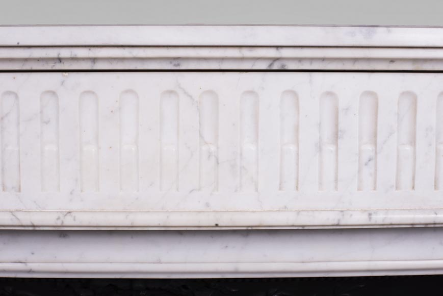 Antique Louis XVI style fireplace in Carrara marble-1