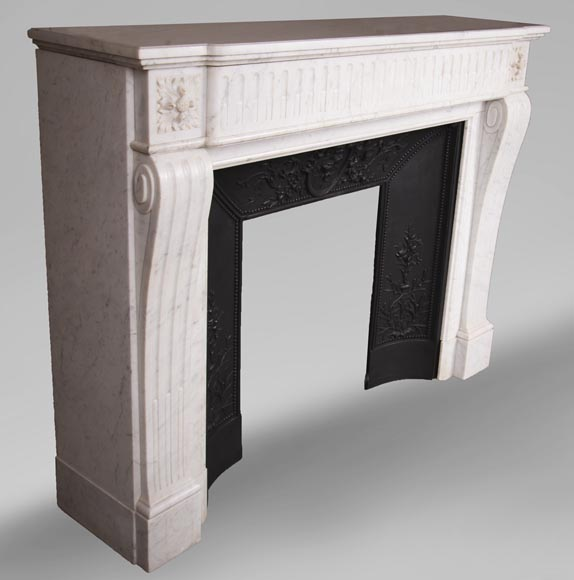 Antique Louis XVI style fireplace in Carrara marble-2