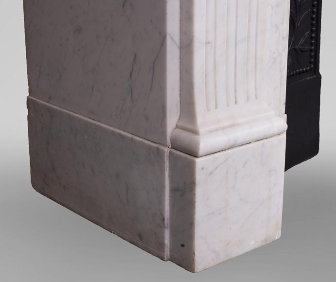 Antique Louis XVI style fireplace in Carrara marble-4