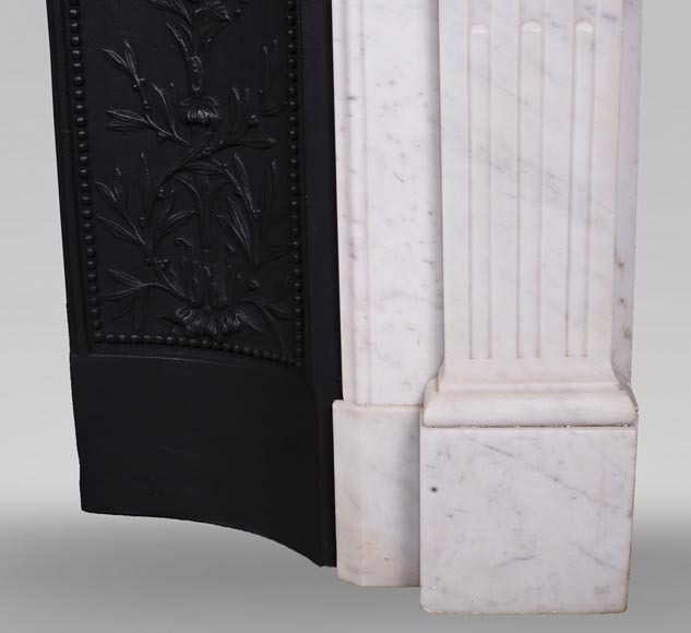 Antique Louis XVI style fireplace in Carrara marble-7