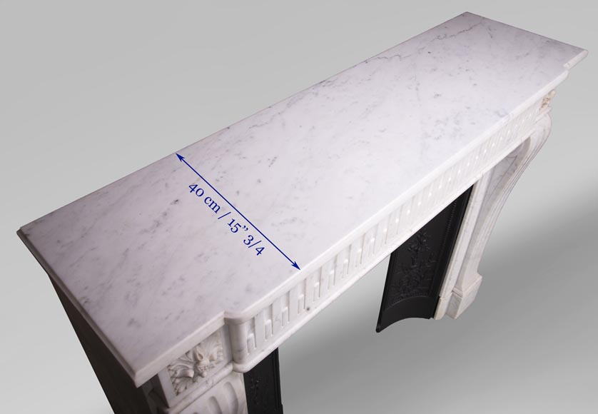 Antique Louis XVI style fireplace in Carrara marble-8