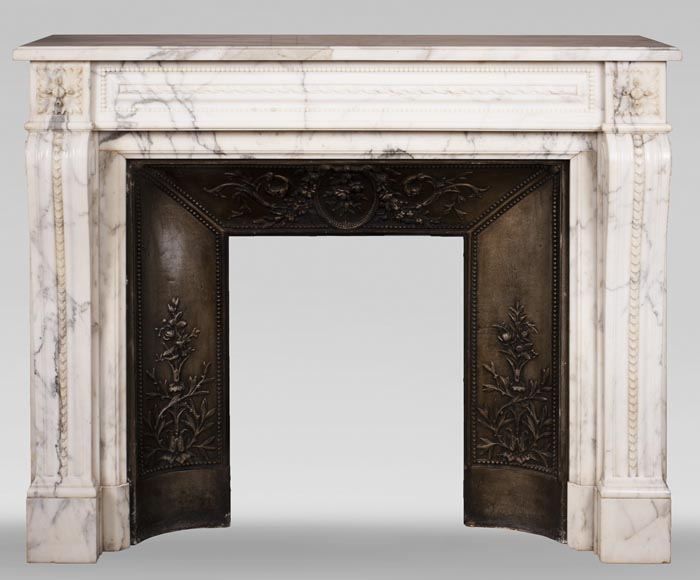 Antique Louis XVI style Arabescato marble fireplace with pearl friezes-0