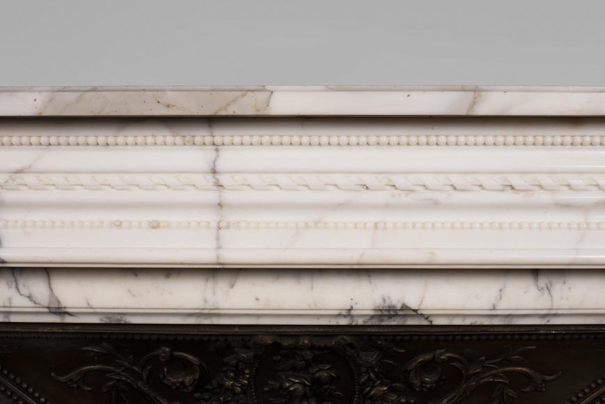 Antique Louis XVI style Arabescato marble fireplace with pearl friezes-1