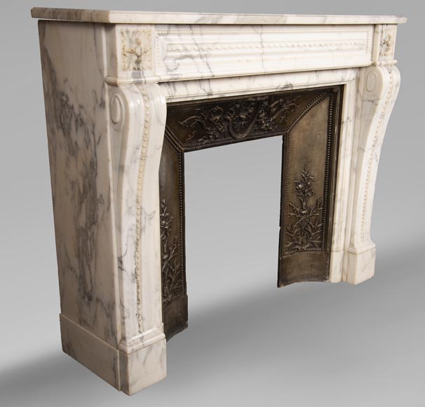 Antique Louis XVI style Arabescato marble fireplace with pearl friezes-3