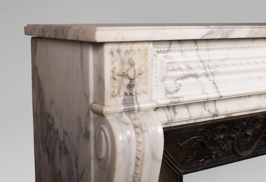 Antique Louis XVI style Arabescato marble fireplace with pearl friezes-4