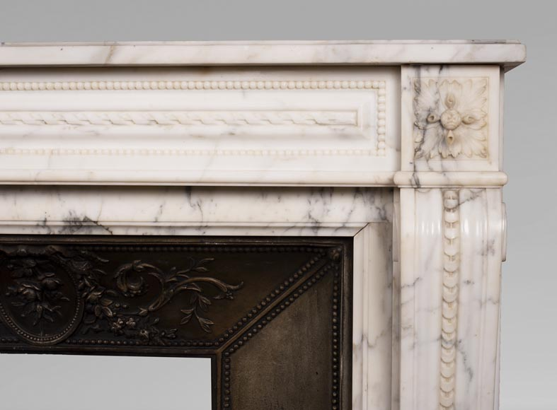 Antique Louis XVI style Arabescato marble fireplace with pearl friezes-8