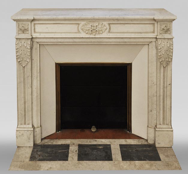Antique Louis XVI style fireplace in Carrara marble, decorated with acanthus leaves-0