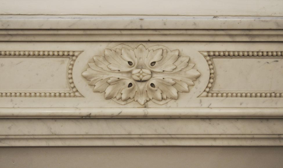 Antique Louis XVI style fireplace in Carrara marble, decorated with acanthus leaves-1