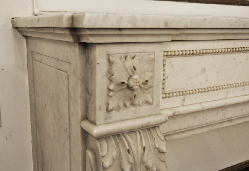 Antique Louis XVI style fireplace in Carrara marble, decorated with acanthus leaves-3