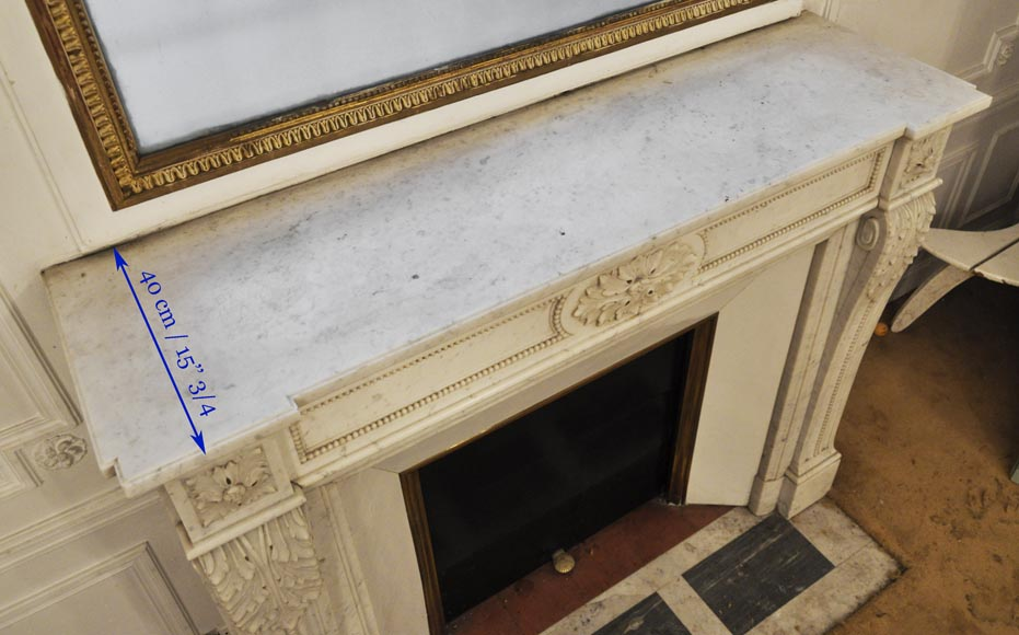 Antique Louis XVI style fireplace in Carrara marble, decorated with acanthus leaves-9