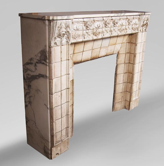 A. GENTIL and E. BOURDET (attributed to) - Antique Art Nouveau style fireplace in sandstone-2